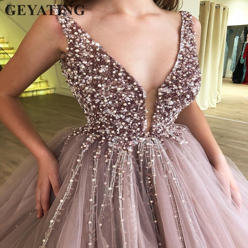 Lavender Tulle Ball Gown Evening Dress Long 2019 Dubai Arabic Prom Dresses Pearls Crystal Vestidos para 15 anos Sweet 16 Dresses