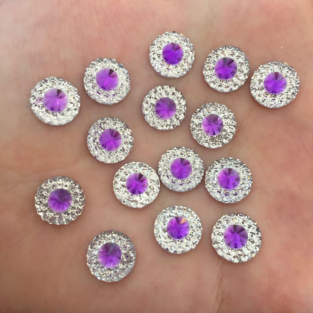 Silver 100pcs Resin 10mm convex round Flatback stone scrapbook wedding DIY Craft