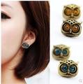 ea354 Fashion Hot Selling 2015 New Style Earings Jewelry Retro Silver Cute Lovely Blue Brown Big Eye Owl Earrings