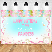 Neoback Happy Birthday Backdrop for Photography Photocall Princess Party Background Colorful Sequins Banner Decoration Studio