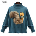 ORMELL Fox Print High Neck Knitted Sweater Women Cute 2017 Warm Long Sleeve Pullover Female Soft Black Jumper Plus Size