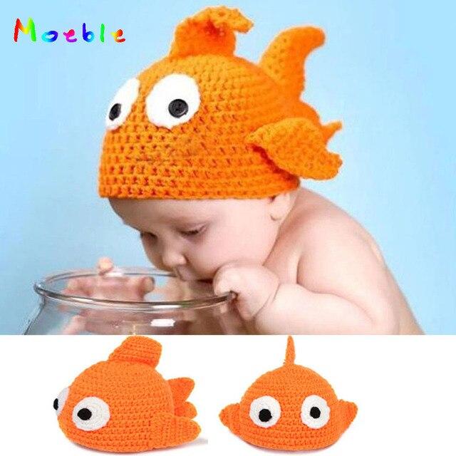 Baby Häkeln Tier Hüte Hand Gestrickte Baby Goldfisch Beanies ...