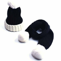 Children Fashion Knitted Scarf And Hat Set Kids Winter Warm Crochet Hats Scarves With Real Fur