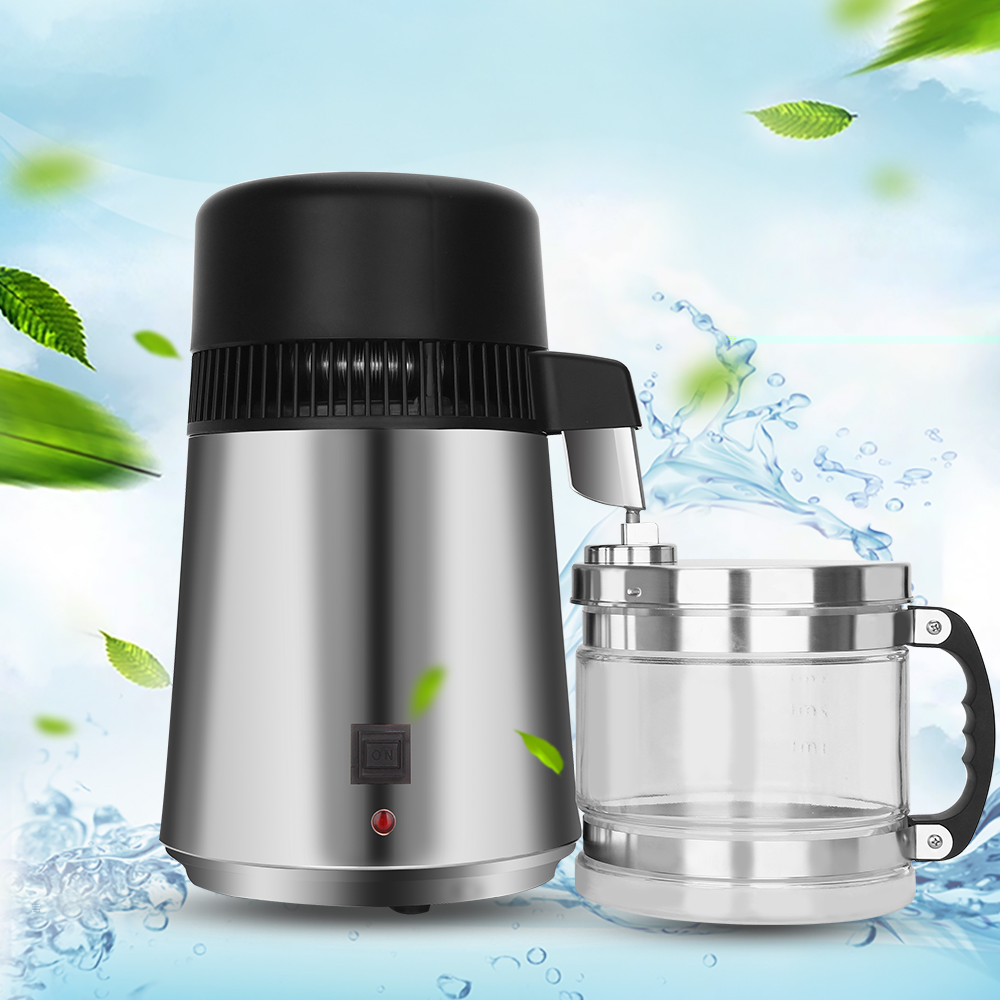 750W 4L Capacity Pure Water Distiller Purifier 220V Stainless Steel Container Filter Distilled Water Device with Glass Jar spe pem usb charging h4high rich hydrogen water bottle lonizer w selfcleaning function electrolytic distilled mineral pure wate