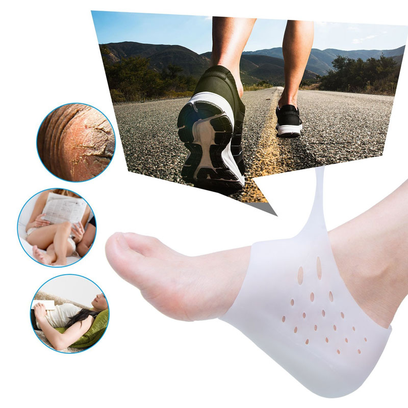 Tcare Silicone Height Increase Socks Heel Lift Gel Insoles, High Increase Shoe Inserts Plantar Fasciitis Heel Protector