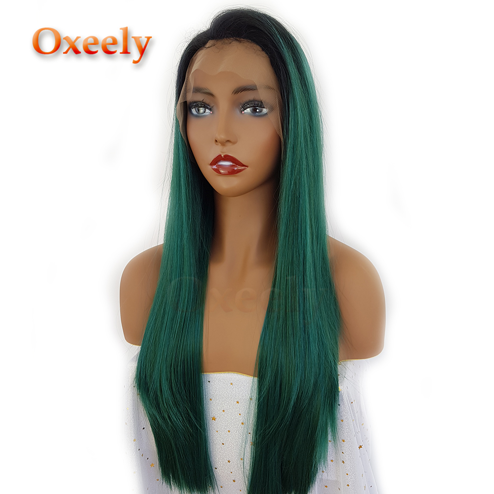 Synthetic Lace Wigs Able Strongbeauty Synthetic Glueless Straight Wigs Short Ombre Dark Green Lace Front Wigs Hair Extensions & Wigs