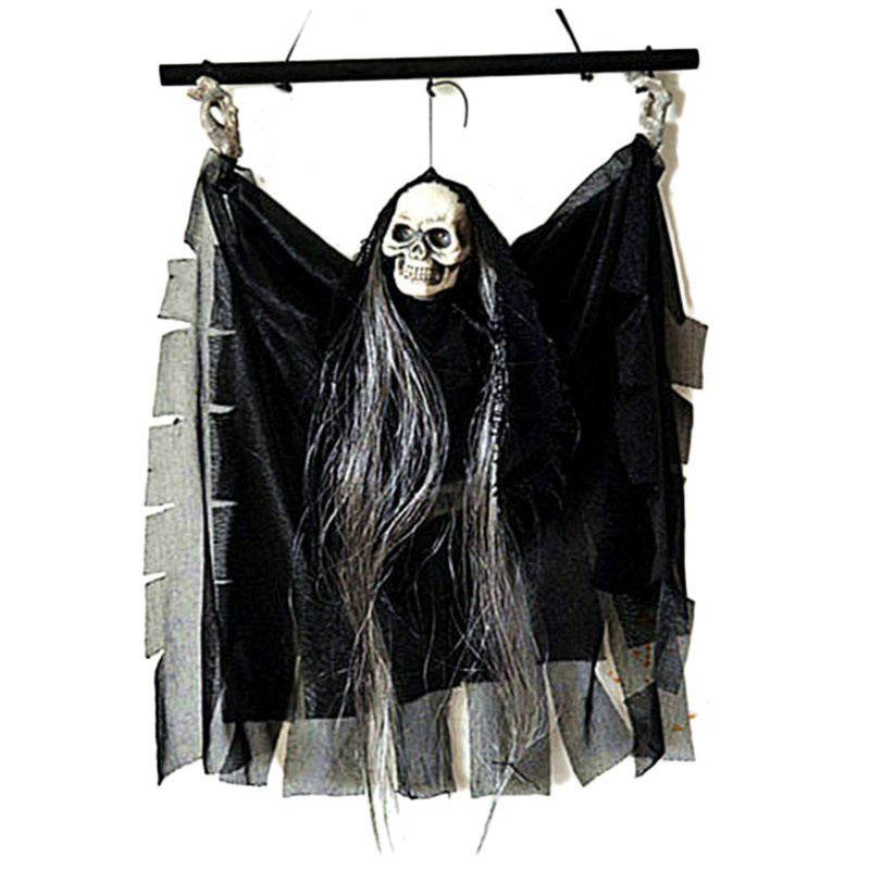 Halloween Props Party Bar KTV Decoration Voice Activated Hanging Skull Skeleton Ghost with Glowing Eyes and Sound Effects Black