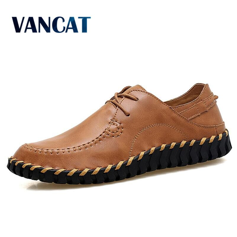 VANCAT 2017 Top Quality Men Flats Shoes Genuine Leather Men Shoes Handmade Loafers Moccasins Driving Shoes Plus size 38-47 high quality genuine leather men shoes lace up casual shoes handmade driving shoes flats loafers for men oxfords shoes