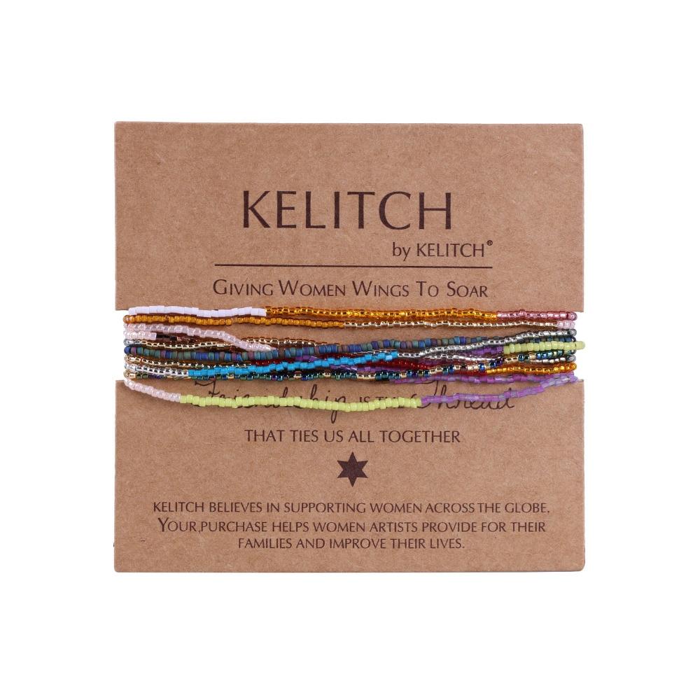 KELITCH 10Pcs Multicolor tassel Seed Beaded Bracelets Handmade Friendship Bracelets Bohemia Strand Bradelet For gifts 5