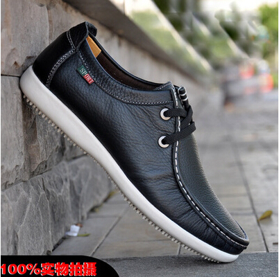 New Men s Business Casual Soft Dough Peas Shoes Everyday Casual Shoes Men  Breathable Lace Driving Shoes Men Flat Leather Shoes 8f1cfad27e4