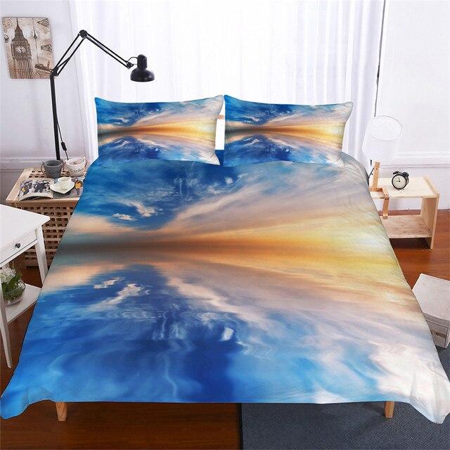 מצעי סט 3D מודפס שמיכה כיסוי מיטת סט נוף ענן בית טקסטיל למבוגרים כמו בחיים מצעי עם ציפית # FG01