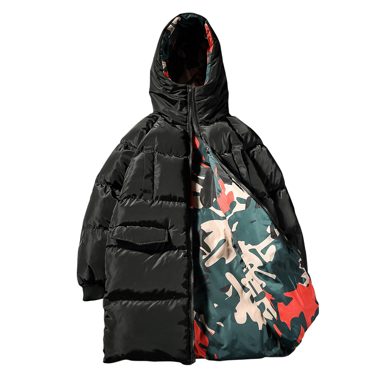 Chaqueta Hombre Invierno 2017 Flower Reversible Mid-long Padded Jacket Black Green Camo Designer Winter Men Puffer Parka Homme