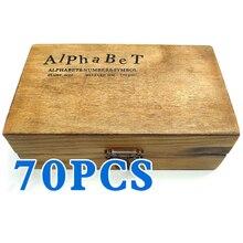 Pack de 70 unids Sellos De Goma Conjunto de Cosecha de Madera de la Caja Del Alfabeto Cartas Número Arte (Sin Almohadilla de Tinta Incluido)