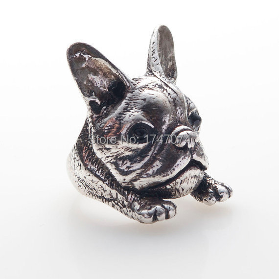 2016wholesale Retro Hippie French Bulldog Ring Fashion Jewelry Gold /silver 4colours Pet Animal Bulldog Ring For Women 20pcs/lot Outstanding Features
