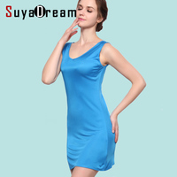 100 REAL SILK Women Sleep Dress Solid Basic Slip Dress V Neck FULL Slips Sleeveless New