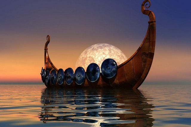 Canvas Fabric Poster Custom Print Frame Available Vikings Ship Pdm772 Wall Room Home