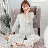 2018 Cotton Month Clothes New Pregnant Women Pajamas Breastfeeding Pajamas Maternal Feeding Home Service Suits A116