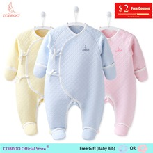 COBROO Newborn Baby Footies Cotton Long-sleeve 2018 Winter 0 3 Month Infant Clothes Girl Boy Jumpsuit BN650014