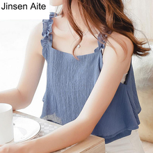 Jinsen Aite Summer Sweet Chiffon Camis Women Top Fashion Beach Casual Ruffles Tank Base Shirt Blusas Female 5XL Plus Size JS799
