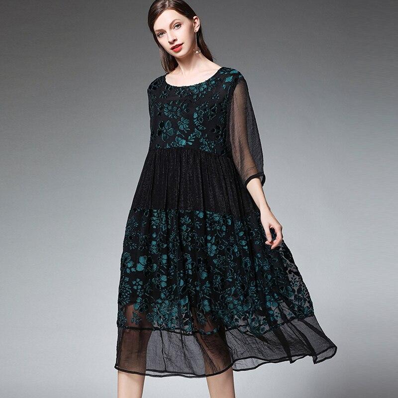 Grande taille femmes mode joint en mousseline de soie robes de grande taille décontracté lâche taille haute O cou mi manches robe élégante printemps - 3
