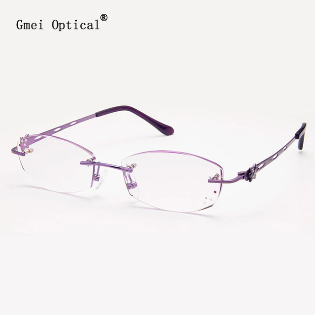 Gmei Optical Q5807 Rimless Diamond Cutting Eyeglasses Frame for Women Eyewear Glasses