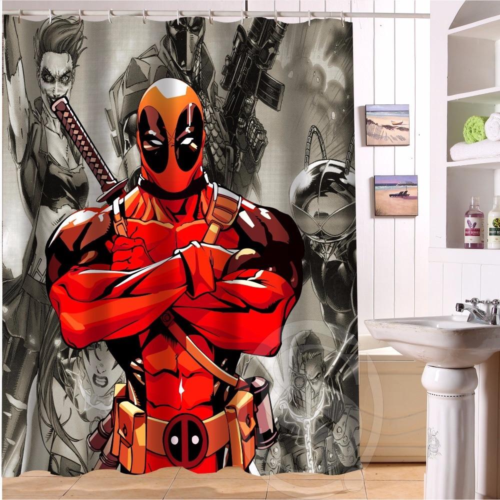 Marvel shower curtain - Custom Deadpool Anime Marvel Hulk 7 Fabric Modern Shower Curtain Bathroom Waterproof Bath Curtain Lrm
