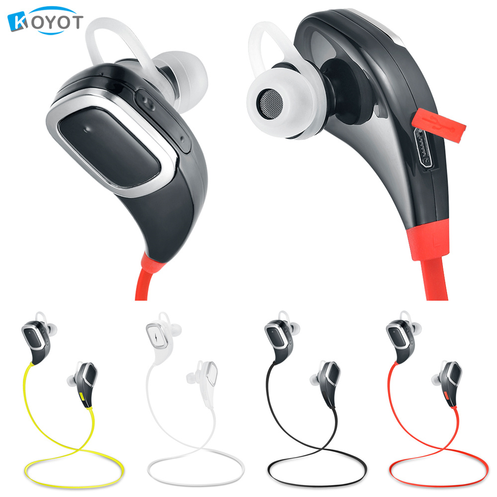 KOYOT Sport Headphones Bluetooth Earphones Ear Phone Wireless Stereo Headset Earphone Music Handsfree for iphone 7 ios  Android universal led sport bluetooth wireless headset stereo earphone ear hook headset for mobile phone with charger cable