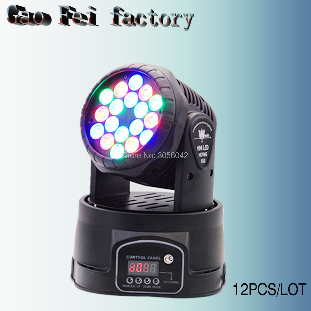 12pcs/lot DMX Stage Light LED Moving Head Mini wash 18X3W RGB Professional Stage DJ For Event Disco Party fast shipping professional stage lighting led mini 18x3w wash moving head light for event disco party nightclub