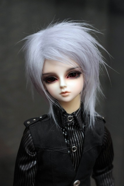 1/3 1/4 1/6 BJD Wigs hot sell Fashion gray purple  bjd sd short curly wig for DIY dollfie