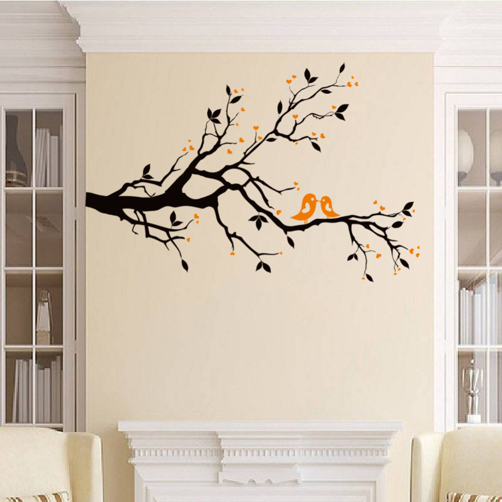 Large Size 83 126cm Trees Branches And Birds Wall Stickes For Living Room Bedroom Home Decorations Wall Decals Vinyl Pvc Mural