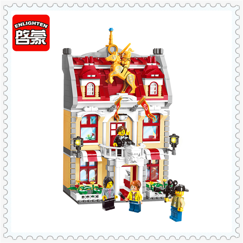 ENLIGHTEN 1130 City Series Town Hall Model Building Block 742Pcs DIY Educational  Toys For Children Compatible Legoe decool 3341 technic city series cruiser suv car building block 589pcs diy educational toys for children compatible legoe