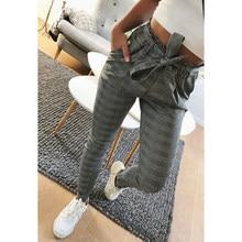 Nueva tela escocesa alta cintura Harem Pantalones mujer verano estilo  tobillo-longitud Pantalones mujer Oficina señora gris raya. 825621446093