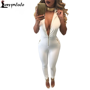 Sexy Rompers Womens Clubwear Combinaison White Zip Front Collared Jumpsuit Macacao Feminino Longo Overalls club jumpsuits Long