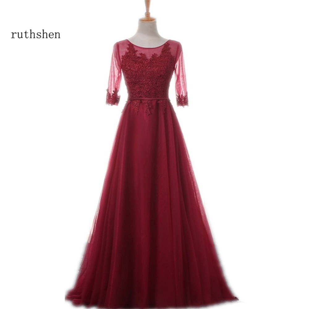 Ruthshen 2018 New Long Prom Dresses Cheap 3/4 Sleeves Lace Appliques Draped Tulle Burgundy /  Pink Vestidos Formal Evening Gowns(China)