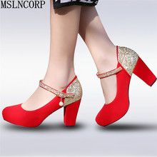 plus size 34-43 New Spring Autumn Bling women high heels prom wedding shoes 2018 Patch Color Thick heel lady bridal party pump