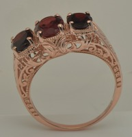 Unique custom western style delicate and sweet princess rose gold pomegranate stone ring hollow out 925 silver