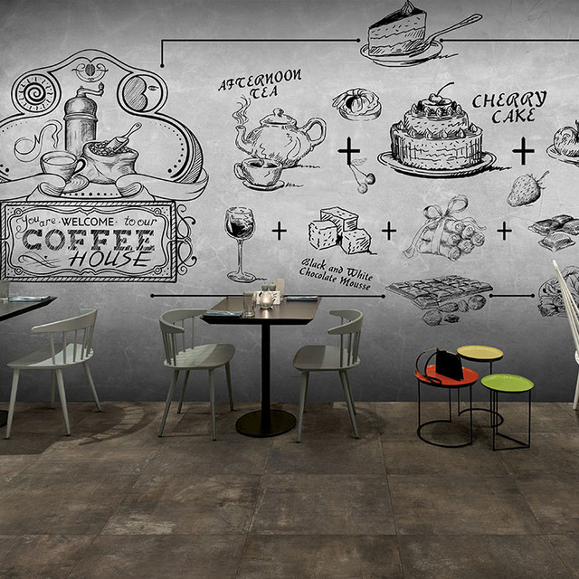 Photo Wallpaper 3d Graffiti Sketch Wallpaper Milk Tea Shop