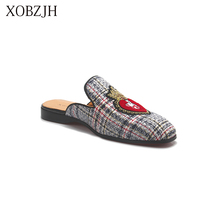 XOBZJH 2019 New Men Shoes Handmade Leisure Style Party Summer Flats Leather Loafers Gray Big Size