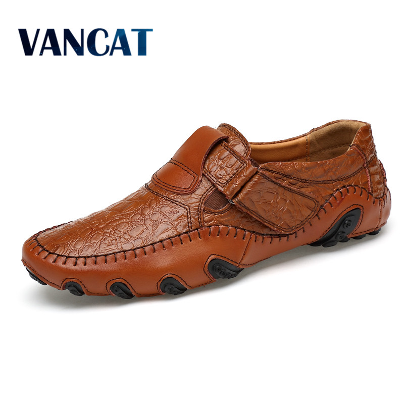 VANCAT Handmade Genuine Leather Mens Shoes Casual Luxury Brand Men Loafers Fashion Breathable Driving Shoes Slip On Moccasins klywoo handmade men leather shoes mens loafers summer autumn moccasins breathable mens shoes casual driving sapato masculino