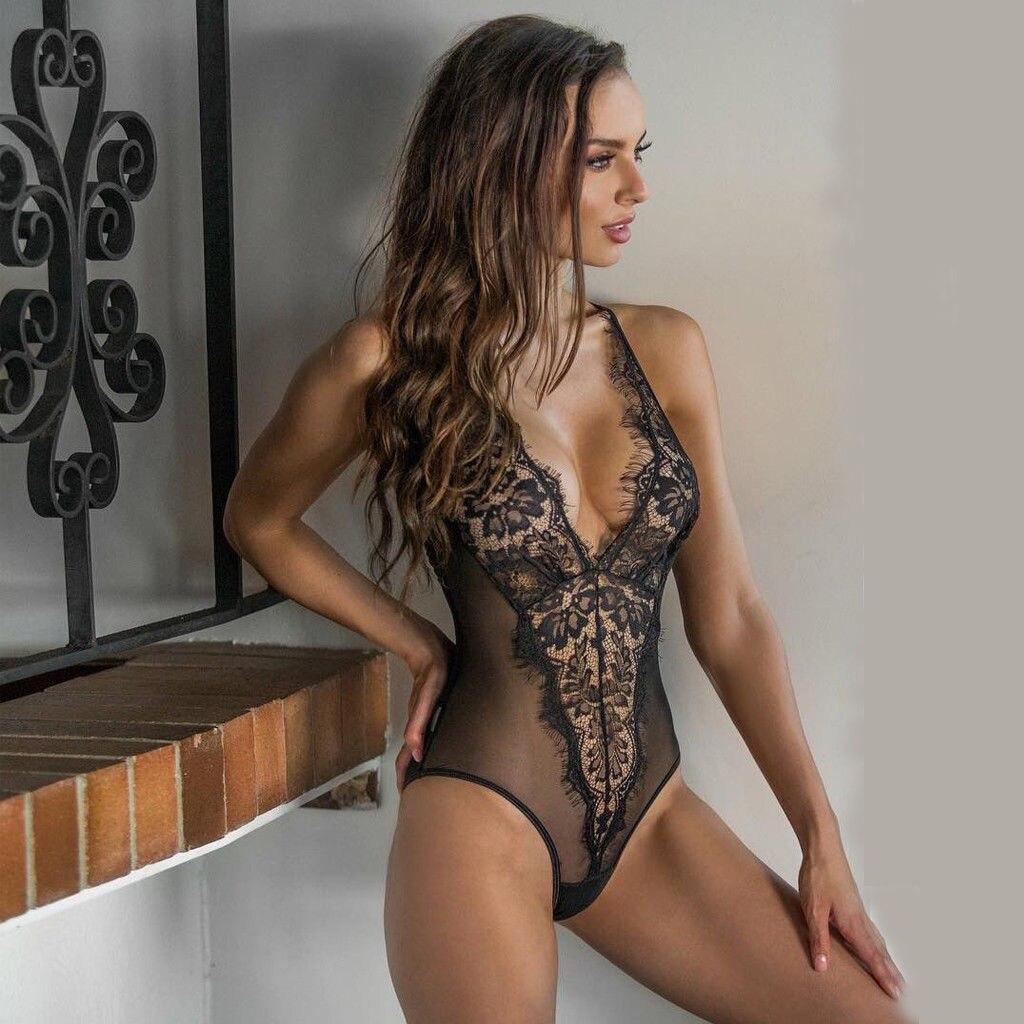 Womens Sexy Lingerie Mesh Lace Catsuit Elegant Transparent Body Sexy Hot Erotic Sheer Bodysuit Underwear Lenceria Femenina
