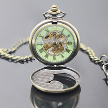 Unisex Vintage Roman Numerals Transparent Dial Winding Mechanical Pocket Watch