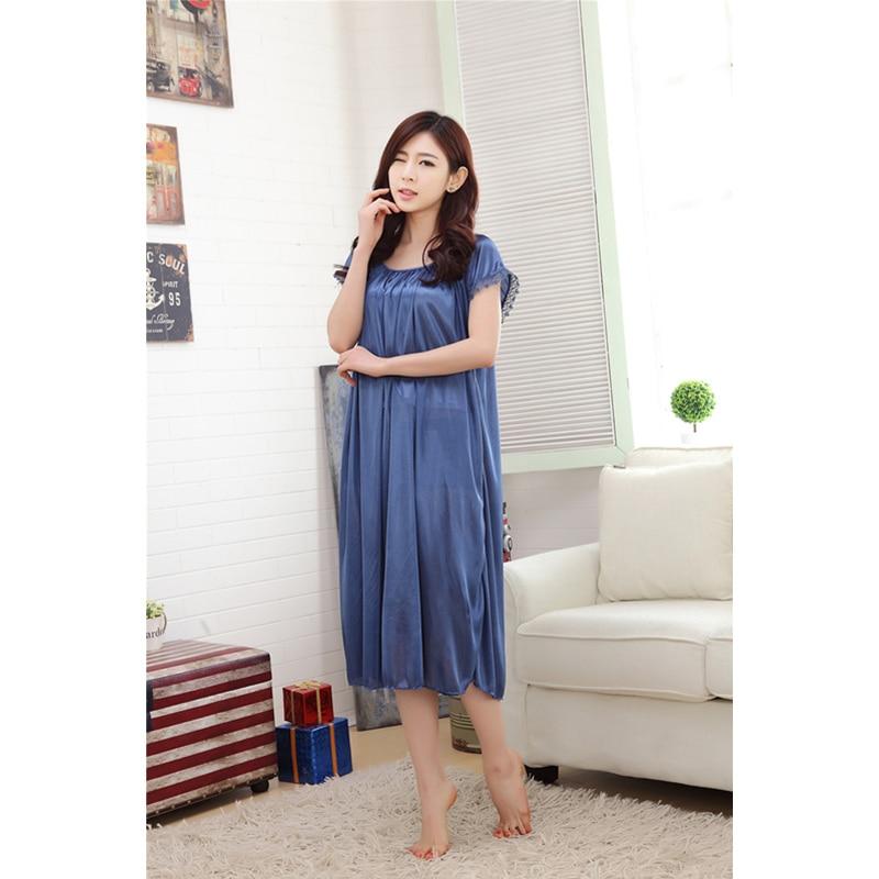 2018 New Summer Sexy Sleep Clothing Plus Size Nighties Lingerie Homewear Women Nightgown Silk Sleepshirts Short-Sleeve Sleepwear