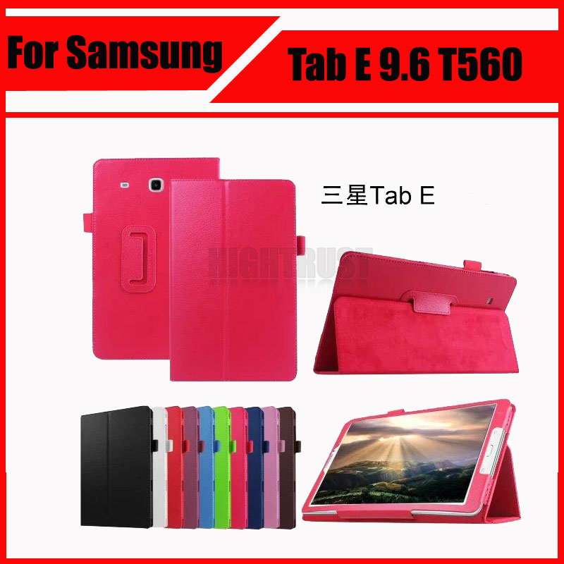 3 in 1 Hot Sale New Lichee Style PU Leather Stand Case Cover for Samsung Galaxy Tab E 9.6 T560 T561 + Stylus + Screen Film