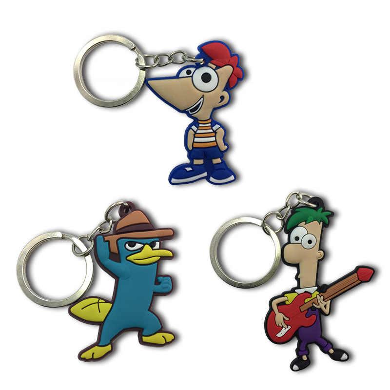 1 piezas Phineas y Ferb llaveros de dibujos animados figura clave titular de los niños DIY juguete colgante de fiesta de Navidad regalos