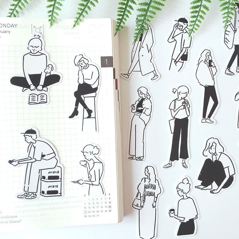 Black And White Salt Illustration Of A Person's Life Decoration Stationery Sticker Diy Ablum Diary Scrapbooking Label Sticker