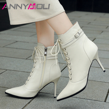 цены ANNYMOLI Winter Ankle Boots Women Natural Genuine Leather Buckle Thin High Heel Short Boots Zip Pointed Toe Shoes Lady Autumn 39