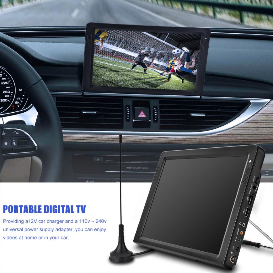 Portable TV DVB-T2 12.1 Inch Rechargeable Digital Color TV Television Car TV Player TFT-LED Screen