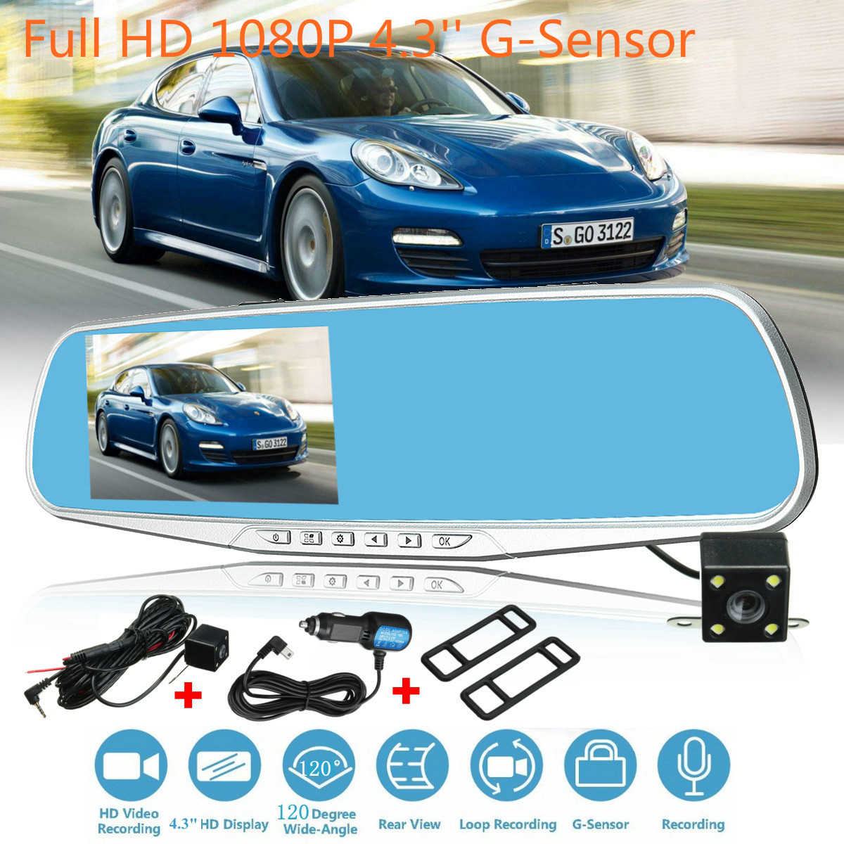 4.3 inch HD 1080P Dual Lens Vehicle Double Record Rearview Mirror 120 Degree Wide Camera Recorder Car DVR Dash Cam