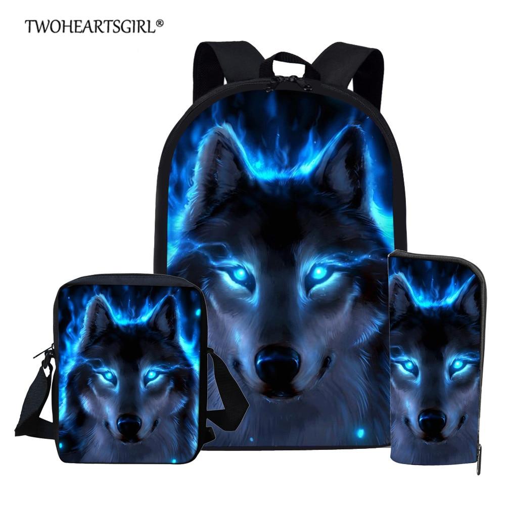 Twoheartsgirl Blue Wolf School Backpack For Teenage Boys Girls Children School Bag Set Student Book Bags Mochila Escolar