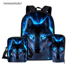 Twoheartsgirl Blue Wolf School Backpack for Teenage Boys Girls Children School